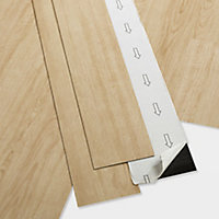 GoodHome Poprock Natural Wood effect Self adhesive Vinyl plank, 0.97m² Pack