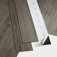 GoodHome Poprock Grey Wood effect Self adhesive Vinyl plank, 0.97m² Pack