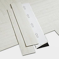 GoodHome Poprock White Wood effect Self adhesive Vinyl plank, 1.2m² Pack