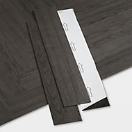 GoodHome Poprock Black Wood effect Self adhesive Vinyl plank, 1.2m² Pack