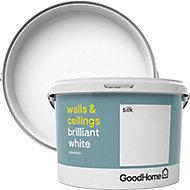 GoodHome Brilliant white Vinyl silk Emulsion paint, 2.5L