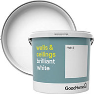 GoodHome Brilliant white Matt Vinyl emulsion paint 5L
