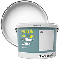 GoodHome Brilliant white Vinyl silk Emulsion paint, 10L