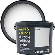 GoodHome Durable Brilliant white Matt Emulsion paint, 10L
