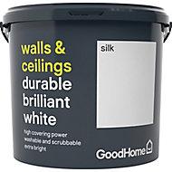 GoodHome Durable White Silk Emulsion paint, 5L