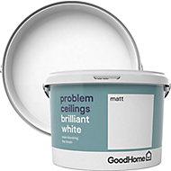GoodHome Problem ceilings Brilliant white Matt Emulsion paint, 2.5L