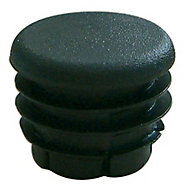 Diall uPVC Black Round End fitting, Pack of 10