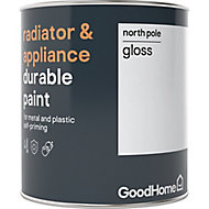 GoodHome Durable North pole (Brilliant white) Gloss Radiator & appliance paint, 0.75L