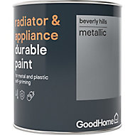 GoodHome Durable Beverly hills Metallic effect Radiator & appliance paint, 0.75L