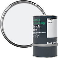 GoodHome Durable North pole (Brilliant white) Matt Wall tile & panelling paint, 0.75L