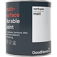 GoodHome Durable North pole (Brilliant white) Matt Multi-surface paint, 0.75L