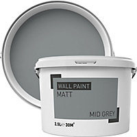 Mid grey Matt Emulsion paint, 2.5L