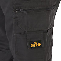 "Site Jackal Black & grey Men's Trousers, W34"" L32"""