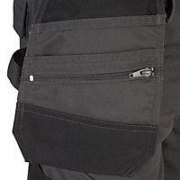 "Site Jackal Black & grey Men's Trousers, W36"" L32"""