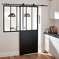 2 panel Glazed Industrial Black Powder-coated Steel Internal Sliding Door, (H)2040mm (W)830mm