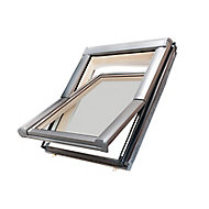 Site Standard Anthracite Aluminium alloy Centre pivot Roof window, (H)980mm (W)780mm
