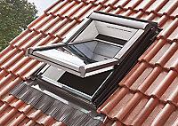 Site Premium Anthracite Aluminium alloy Centre pivot Roof window, (H)1180mm (W)1140mm