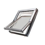 Site Premium Anthracite Aluminium alloy Centre pivot Roof window, (H)780mm (W)540mm