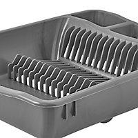 GoodHome Datil Anthracite Rectangular Dish drainer rack, (W)360mm