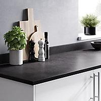 22mm Algiata Matt Grey Stone effect Laminate & particle board Round edge Kitchen Worktop, (L)3000mm