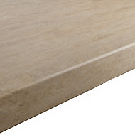 GoodHome 38mm Kabsa Matt Travertine Travertine effect Laminate Round edge Kitchen Worktop, (L)3000mm