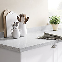 GoodHome 38mm Berberis Gloss White Star effect Laminate Square edge Kitchen Worktop, (L)3000mm