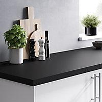 GoodHome 38mm Berberis Super matt Black Laminate & particle board Square edge Kitchen Worktop, (L)3000mm