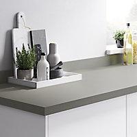 GoodHome 38mm Berberis Super matt Titan grey Laminate & particle board Square edge Kitchen Worktop, (L)3000mm