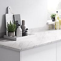 GoodHome 22mm Algiata Matt White Marble effect Laminate Round edge Kitchen Breakfast bar Worktop, (L)2000mm