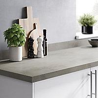 GoodHome 38mm Kala Matt Grey Concrete effect Laminate & particle board Square edge Kitchen Breakfast bar Breakfast bar, (L)2000mm
