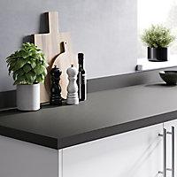 GoodHome 38mm Berberis Super matt Zinc Anthracite Laminate & particle board Square edge Kitchen Worktop, (L)3000mm