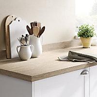 GoodHome 38mm Kabsa Matt Travertine Stone effect Laminate Round edge Kitchen Breakfast bar Worktop, (L)2000mm