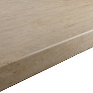 GoodHome 38mm Kabsa Matt Travertine Stone effect Laminate Round edge Kitchen Breakfast bar Worktop, (L)2000mm