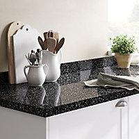 GoodHome 38mm Berberis Gloss Black Star effect Laminate Square edge Kitchen Breakfast bar Worktop, (L)2000mm