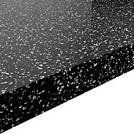 GoodHome 38mm Berberis Gloss Black Star effect Laminate Square edge Kitchen Breakfast bar Worktop, (L)2000mm
