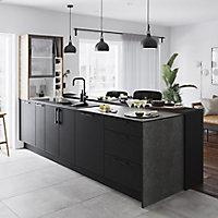 GoodHome 12mm Nepeta Matt Grey Resin Square edge Kitchen Worktop, (L)3000mm