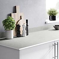 GoodHome 12mm Nepeta Matt White Stone effect Laminate Square edge Kitchen Worktop, (L)3000mm