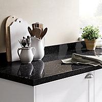GoodHome 38mm Kabsa Gloss Black Granite effect Laminate & particle board Post-formed Kitchen Breakfast bar Breakfast bar, (L)2000mm