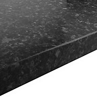 GoodHome 38mm Kabsa Gloss Black Granite effect Laminate Round edge Kitchen Breakfast bar Worktop, (L)2000mm