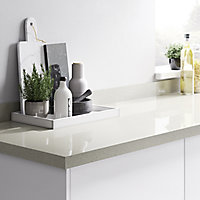 38mm Berberis Gloss White Glitter effect Laminate & particle board Square edge Kitchen Breakfast bar Worktop, (L)2000mm