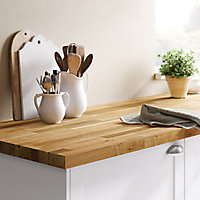 40mm Hinita Natural Solid oak Square edge Kitchen Island Worktop, (L)1800mm