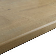 28mm Matt Brown Oak effect Laminate Round edge Kitchen Worktop, (L)2400mm