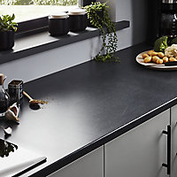 28mm Matt Dark grey Stone effect Laminate & particle board Post-formed Kitchen Worktop, (L)2400mm