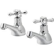 GoodHome Etel Chrome plated Bath pillar tap, Pack of 2