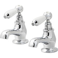 GoodHome Brean Chrome plated Bath pillar tap, Pack of 2