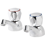 GoodHome Calp Chrome plated Bath pillar tap, Pack of 2
