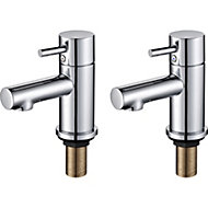 GoodHome Lazu Chrome plated Bath pillar tap, Pack of 2