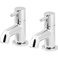 GoodHome Hoffell Chrome plated Bath pillar tap, Pack of 2