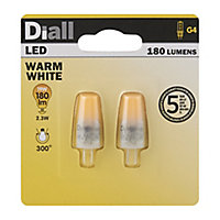 Diall G4 2W Warm white Non-dimmable Light bulb, Pack of 2