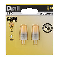 Diall G4 2W 180lm Capsule Warm white LED Light bulb, Pack of 2